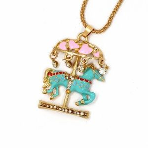 Jewelry - New Horse Pony Carousel Enamel Brooch Necklace